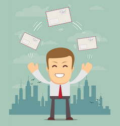 Cheerful business man with big envelope vector