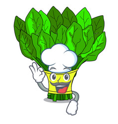 chef vegetable spinach on a cartoon plate vector image