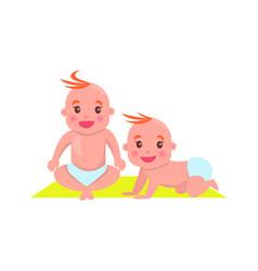 Children sitting on mat poster vector
