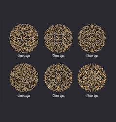 collection beautiful round ornaments drawn vector image