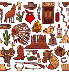 colored wild west pattern in hand-drawn style vector image