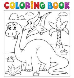 coloring book dinosaur theme 3 vector image