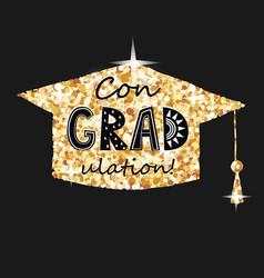 congratulations on graduation golden graduate cap vector image
