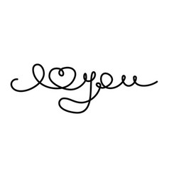 continuous line drawing i love you black isolated vector image