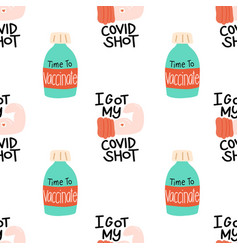 Corona vaccine covid19 shot seamless vector