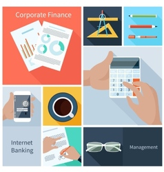Corporate finance web banking management concept vector