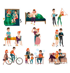 Couple in daily life set vector