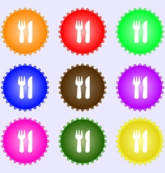 Crossed fork over knife icon sign Big set of vector
