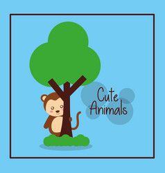 cute animal monkey with tree card decoration vector image