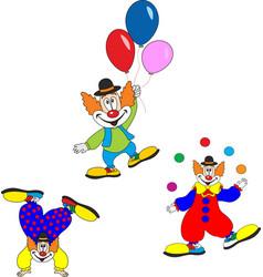 Cute clown character design set birthday or vector