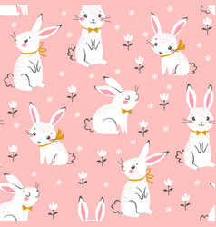 cute white bunnies pattern vector image
