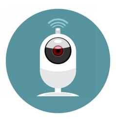 Digital white wi-fi and web camera icon vector