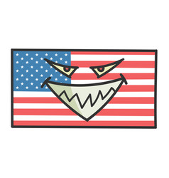 evil american flag cartoon vector image
