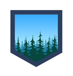 Expedition badge with forest under blue sky vector