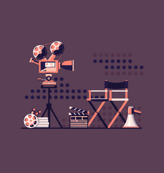 Film set cinema with equipment vector