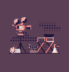 film set cinema with equipment vector image