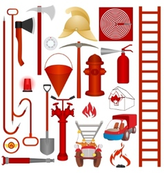 Fire equipment tools and accessories vector