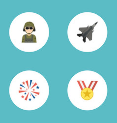 Flat icons medallion firecracker military man vector