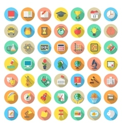 Flat Round School Subjects Icons with Long Shadows vector