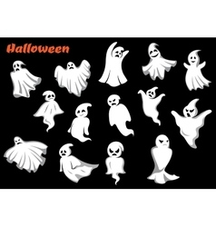 Flying Halloween monsters and ghosts vector image