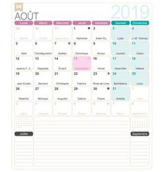 French calendar - august 2019 vector