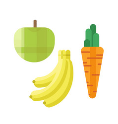 Fresh green apple carrot and banana vector
