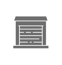 garage for cars temporary storage grey icon vector image
