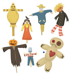 garden ugly terrible fabric scarecrow fright vector image