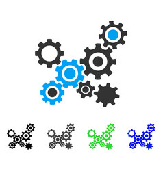 Gears mechanism flat icon vector