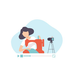 girl sewing clothes sewing machine young woman vector image