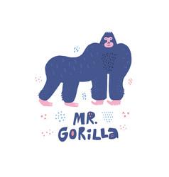 gorilla hand drawn poster in scandinavian style vector image