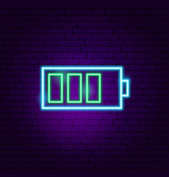 green battery neon sign vector image