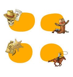 hand drawn wild west cowboy stickers vector image