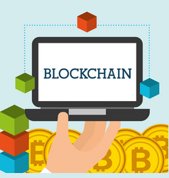 hand holding laptop bitcoins blockchain vector image