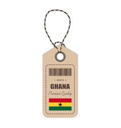 hang tag made in ghana with flag icon isolated on vector image