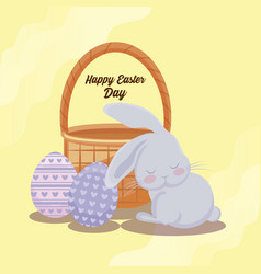 happy easter day card with cute rabbit and eggs vector image