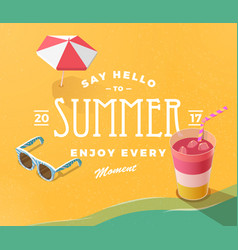 hello summer on beach vector image