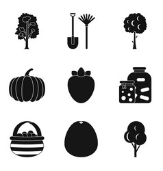 Horticultural icons set simple style vector