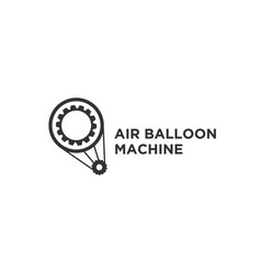 hot air balloon line icon with machine symbol vector image