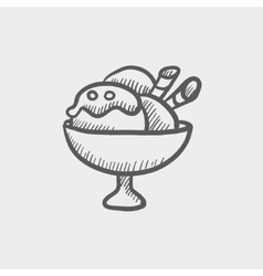 Ice cream on cup sketch icon vector image