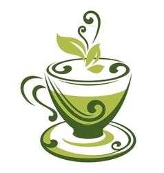 icon of green tea cup vector image