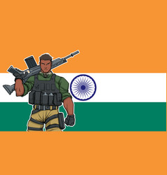 Indian soldier background vector