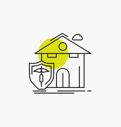 Insurance home house casualty protection line icon vector