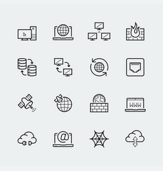 internet computer network icon set in thin vector image