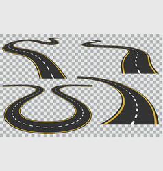 Isolated curved roads in perspective vector