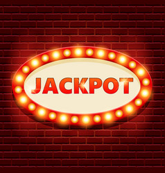 Jackpot retro banner template with glowing vector