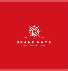 Letter p compass logo design vector