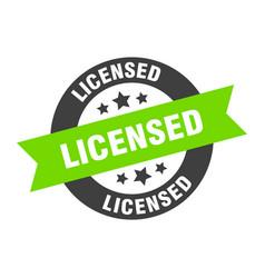licensed sign black-green round ribbon vector image
