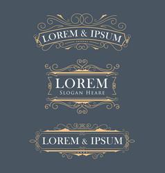 Luxury crown frame modern logos flourishes vector