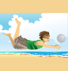 man playing beach volleyball vector image